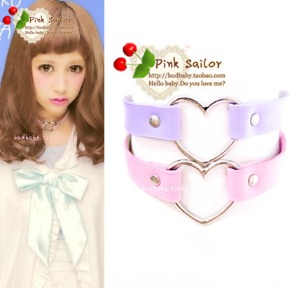 Japanese harajuku PU heart-shaped necklace  YV16016