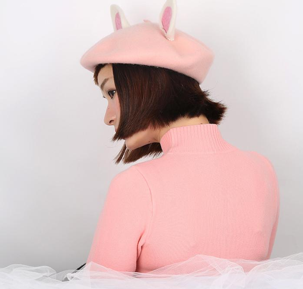 Cute handmade woolen rabbit girl ear cap YV16032