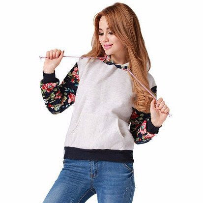 Women's Thick Warm Floral Printed Hoodies Sweater Pullover YV16078