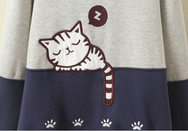 Cat students round neck long sleeve fleece jacket YV283