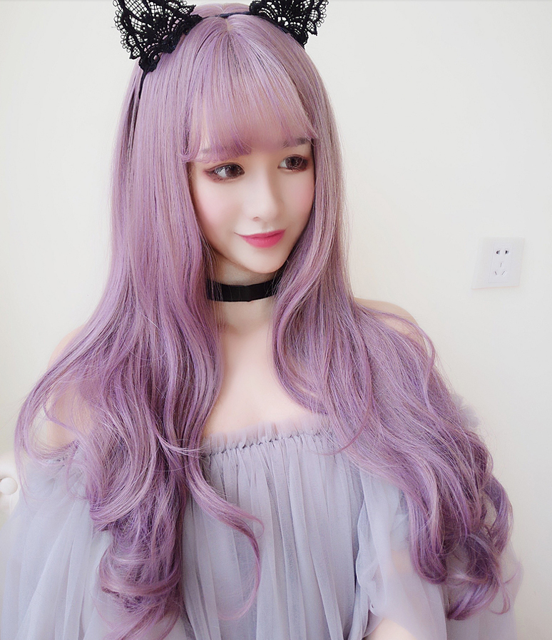 Air bangs purple curly hair YV297