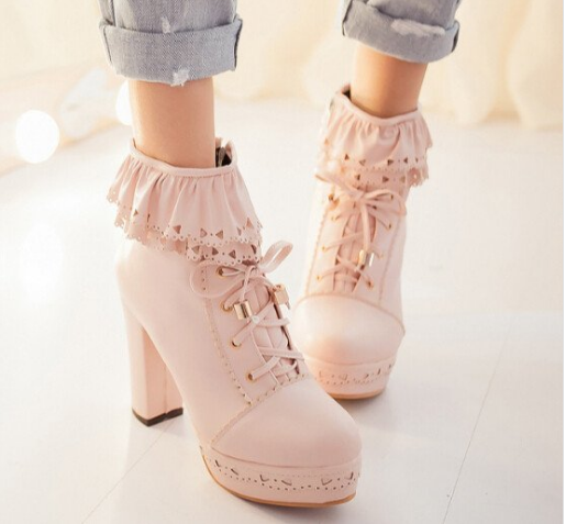 Sweet  lolita falbala high-heeled boots YV403