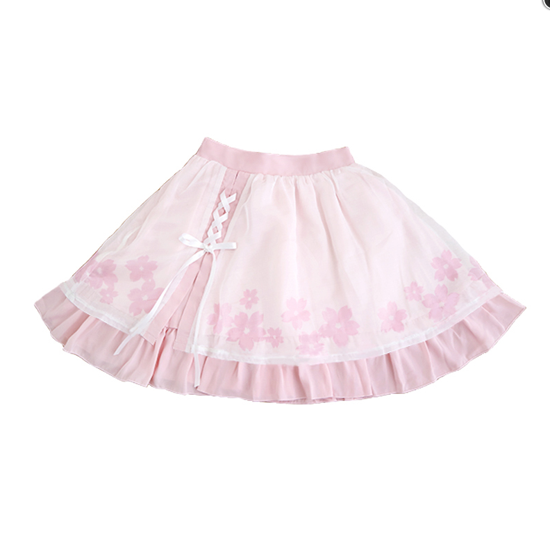 Cherry Chiffon Bow Tie Skirt YV448