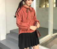 Cute Bow Tie Long Sleeve Top YV450