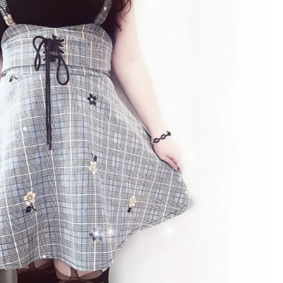 Review for  Fashion  flower plaid braces skirt + knitted two-piece set  YV7053