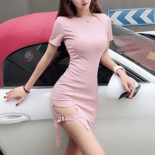 Short sleeve hip split dress YV40166