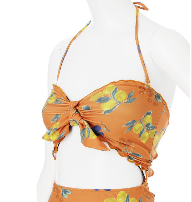 Fruit Print Bow One-piece Swimsuit YV40173