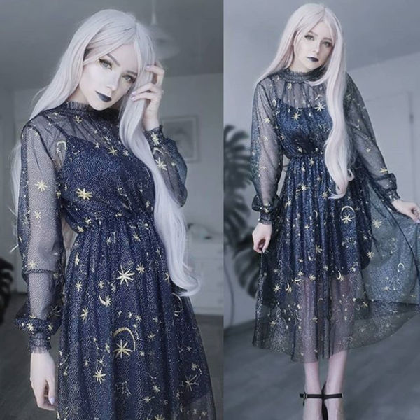 Review For Starry Layered Tulle Long Dress YV484