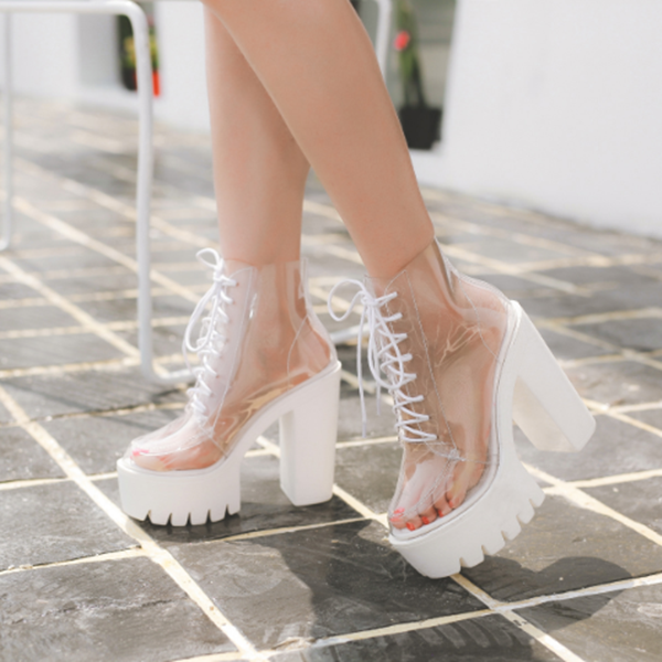 White transparent thick heel boots