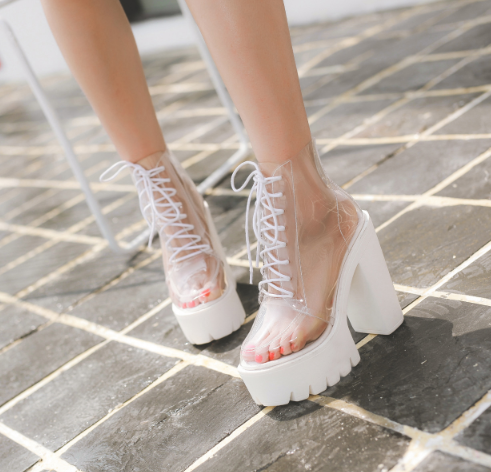 white transparent thick heel boots yv40205  youvimi