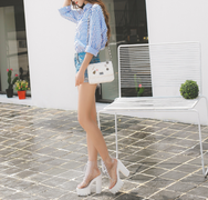 White transparent thick heel boots YV40205