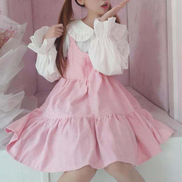 Trumpet sleeve shirt + pink dress YV40219