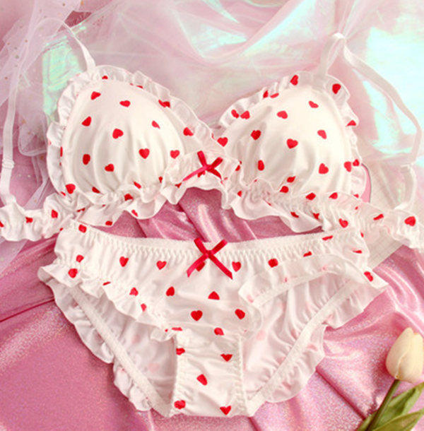 Cute Strawberry / Heart / Shiba Inu Bra Set YV40256