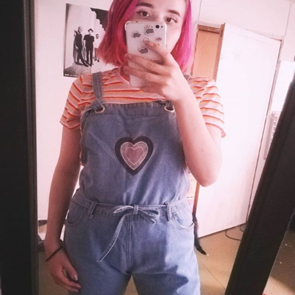 Review For Cute Heart Embroidery Overall Jeans YV2417