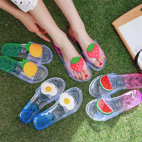 Cute flat plastic crystal slippers YV40341