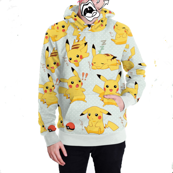 Cute Pikachu hooded pullover sweater YV40356