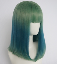 Green gradient blue wig YV40377