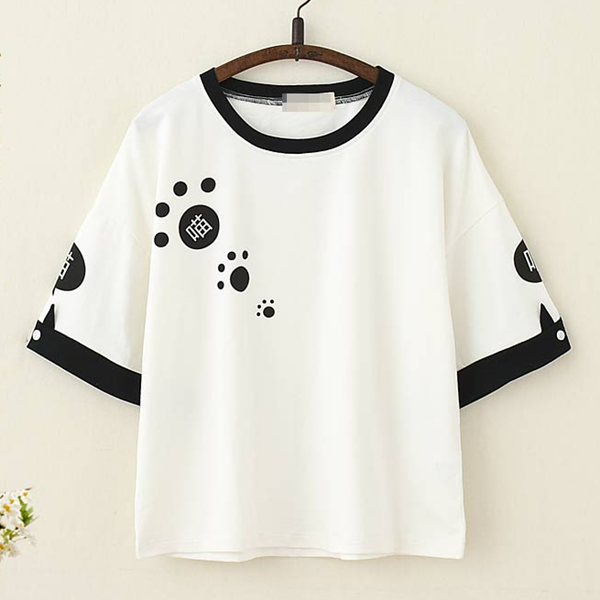 Cute cat footprints T-shirt YV40407
