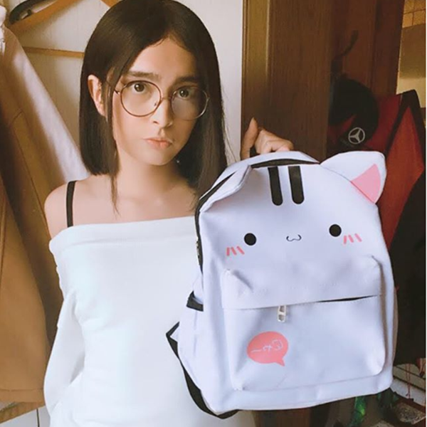 Review For Cute Cat Rabbit Canvas Backpack YV40079