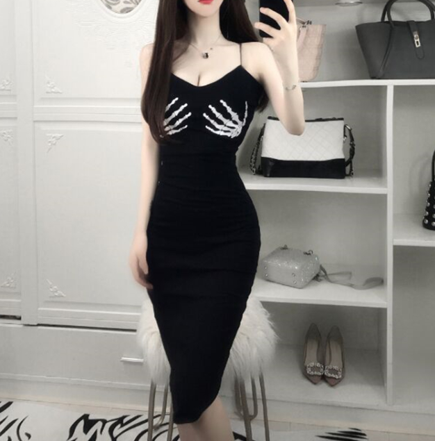 Sexy mid-length low-cut strap dress YV40429