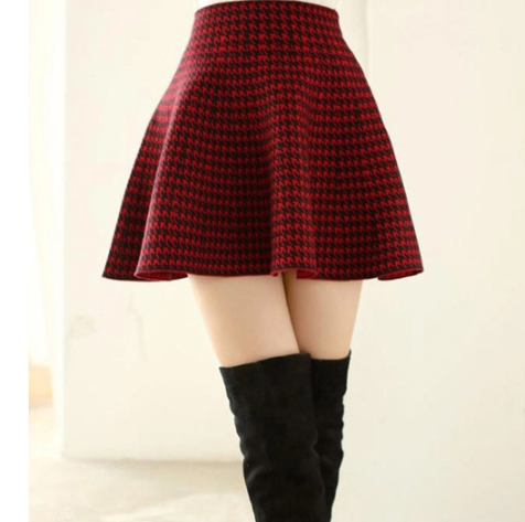 Knitted high waist pleated skirt YV40430