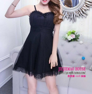 Cute Ruffled Bow Lace Sling Dress YV40453