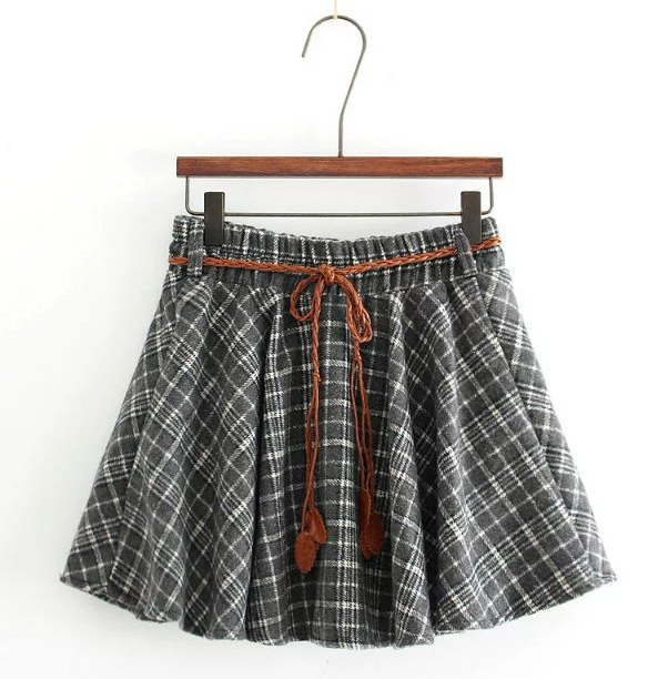 Japanese plaid woolen skirt YV40469
