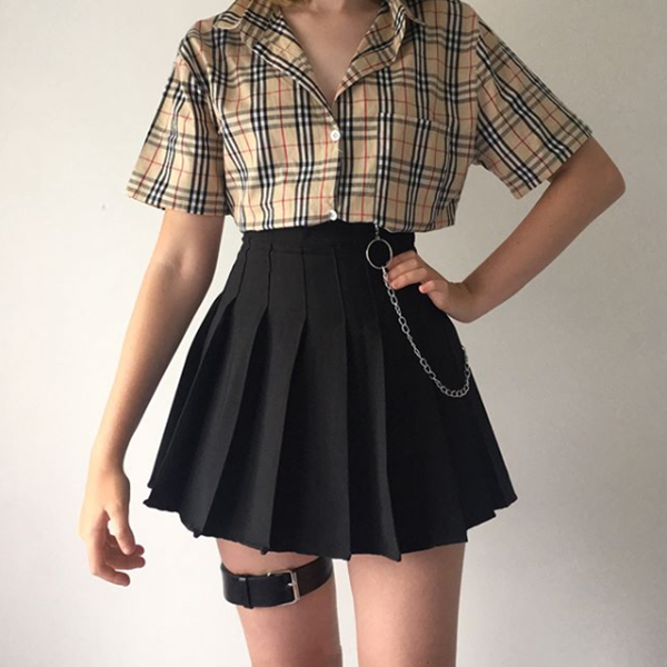 Review For Plaid Shirt + High Waist Skirt YV40347