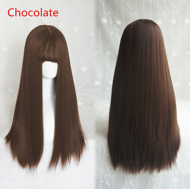 Air bangs long straight wig yv40428