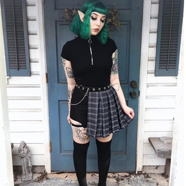 Review For  Hip Hop Irregular Stitching Plaid Skirt YV40288