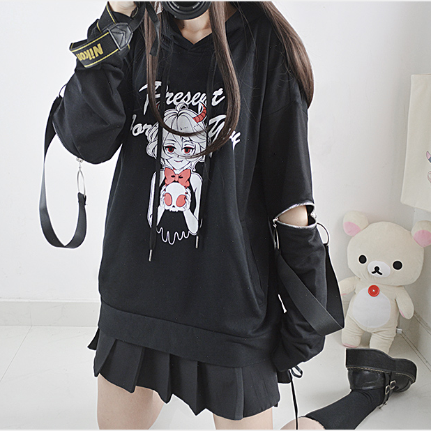 Dark zip stitching hooded sweater yv40552