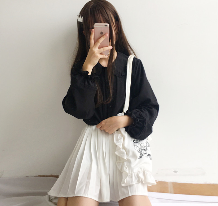 Japanese kawaii shirt + plaid pleated skirt yv40573
