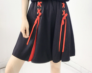 Japanese colorblock bow skirt yv40580