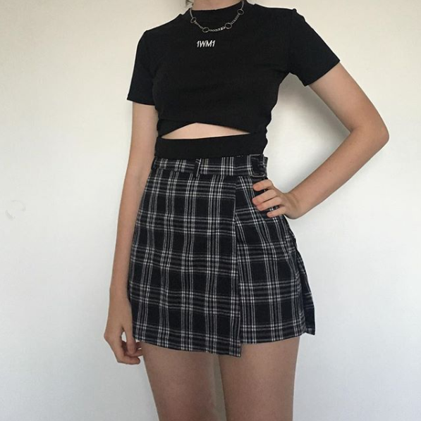 kfashion T-shirt + Plaid Skirt Two-piece Suit yv40551