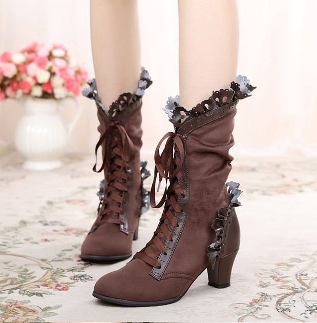 Lolita bow lace ribbon high heel boots YV40693
