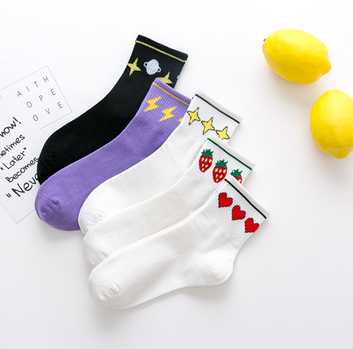 Cute Strawberry / Heart Five Pairs Socks YV40786