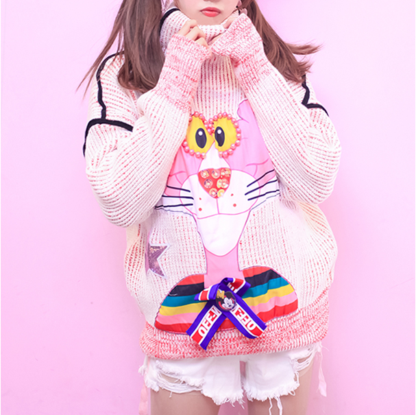Cute Pink Naughty Turtleneck Sweater YV40793