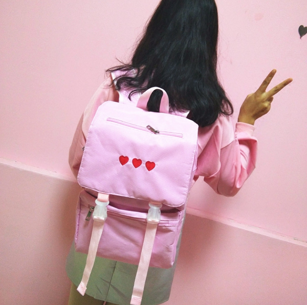 BREAK HEART Embroidered Cute Backpack YV40798