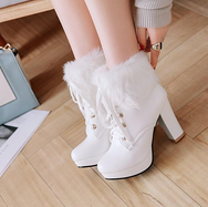 Plush lace high heel Martin boots YV40799