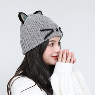 Cute cat ears knit hat yv40825
