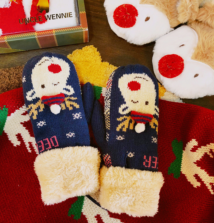 Cute cartoon Christmas warm plush gloves yv40826