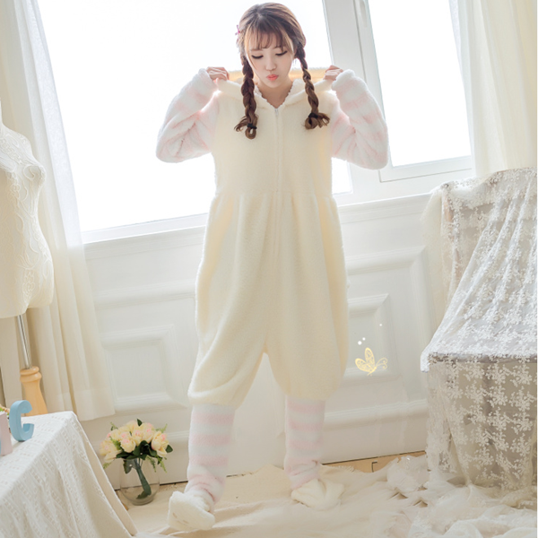 Coral fluff cat ear claws pajamas YV40847