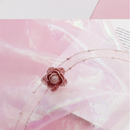 Pink flower yarn necklace YV40878
