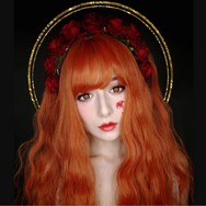 Orange egg roll fluffy wig YV40852