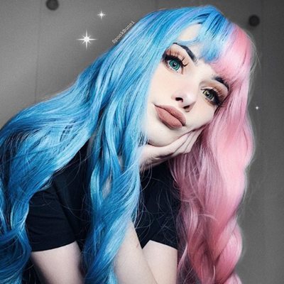Rreview for Half blue half Pink big wave wig YV40408