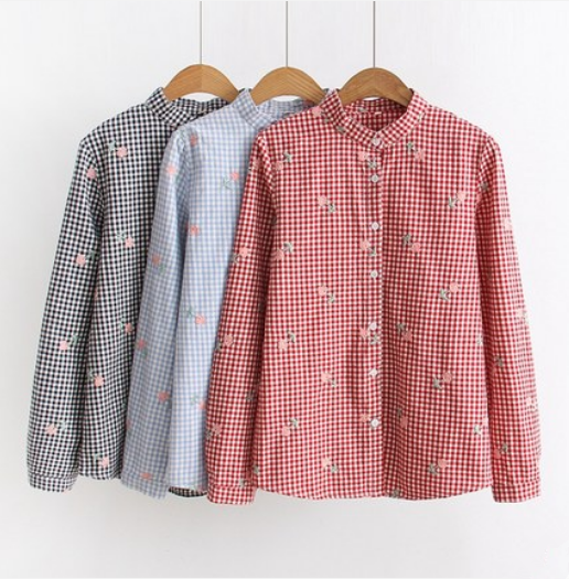 Japanese embroidery floral plaid shirt yv42028