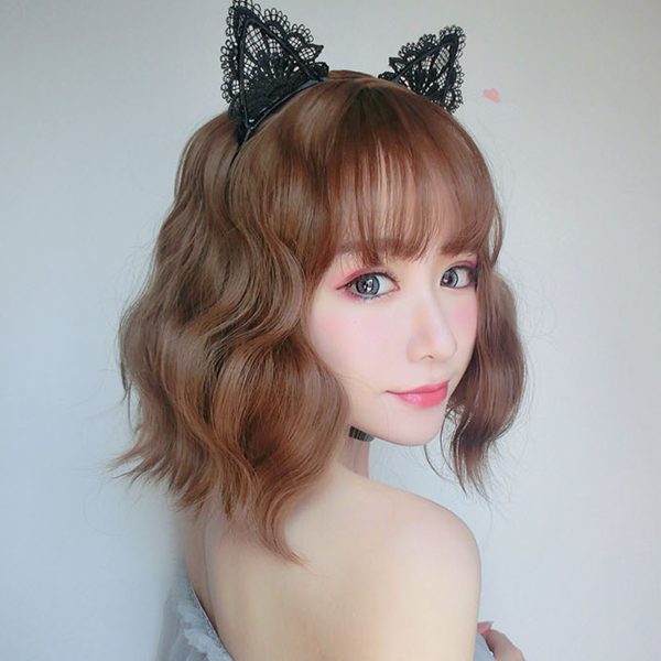 Cute air bangs short curly hair yv42041