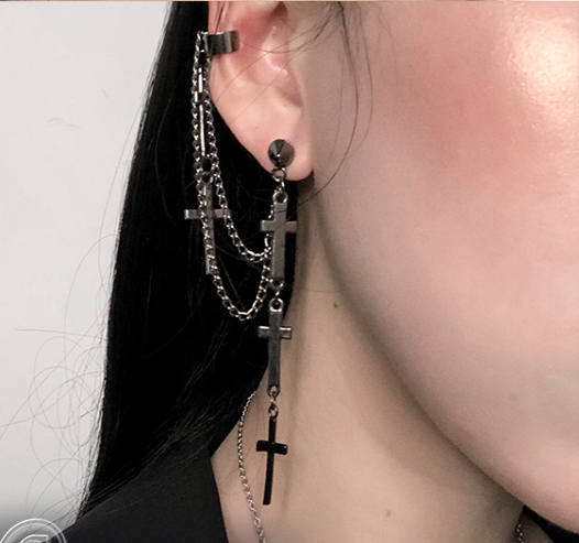 Punk cross chain earrings yv42081