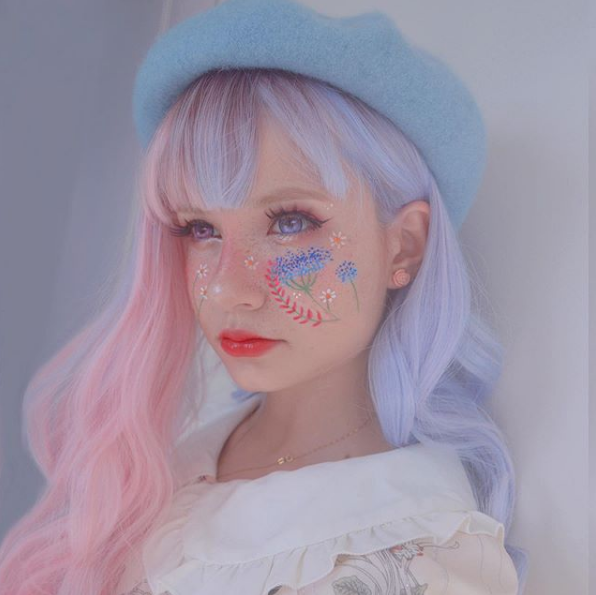 Blue and pink gradient Lolita wig YV40845