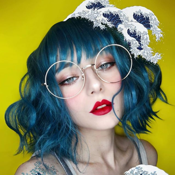 Gothic blue green wig YV41082